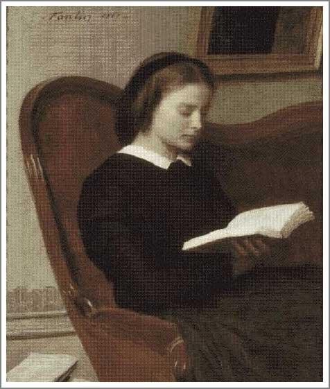 絵画(油絵複製画)制作 アンリ・ファンタン=ラトゥール「読書をする女」