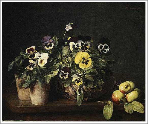 絵画(油絵複製画)制作 アンリ・ファンタン=ラトゥール「パンジーの静物」