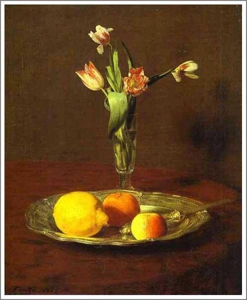 絵画(油絵複製画)制作 アンリ・ファンタン=ラトゥール「レモン、りんご、チューリップ」