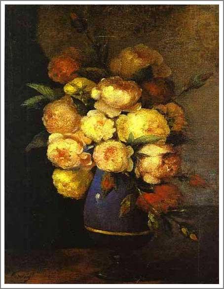 絵画(油絵複製画)制作 アンリ・ファンタン=ラトゥール「花瓶の牡丹」