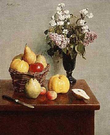 絵画(油絵複製画)制作 アンリ・ファンタン=ラトゥール「花と果物の静物」