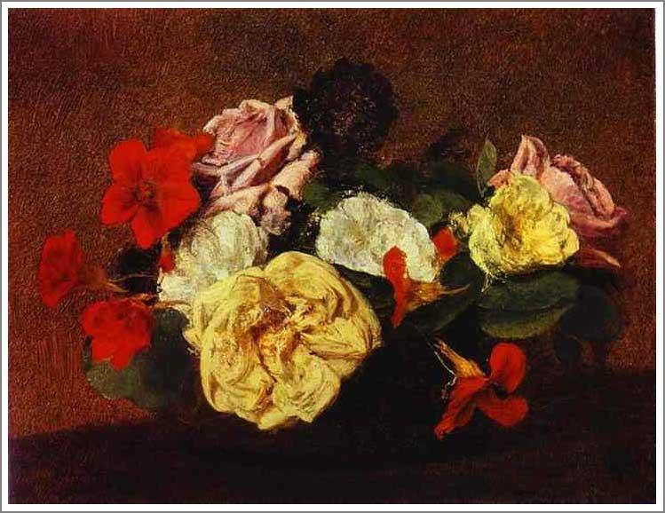 絵画(油絵複製画)制作 アンリ・ファンタン=ラトゥール「花瓶に活けた薔薇と金蓮花」
