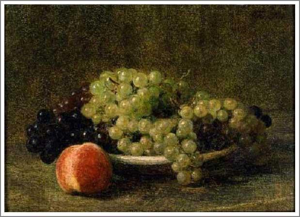 絵画(油絵複製画)制作 アンリ・ファンタン=ラトゥール「葡萄と桃のある静物」