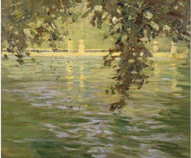 絵画(油絵複製画)制作 藤島武二「ティヴォリ、ヴィラ・デステの池」