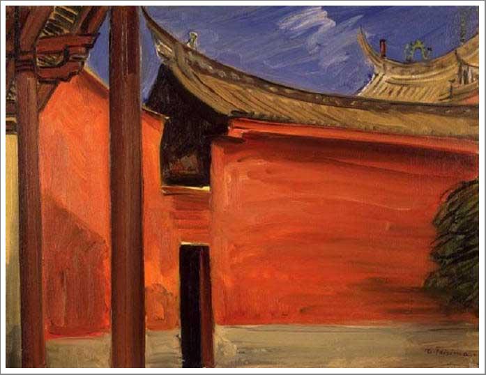 絵画(油絵複製画)制作 藤島武二「聖廟(台南)」