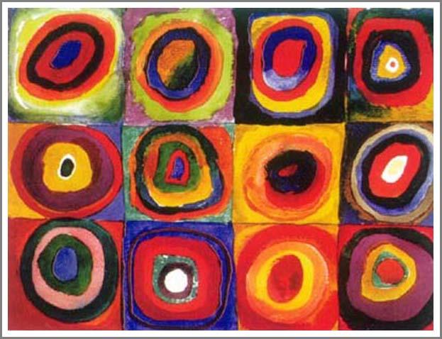 絵画(油絵複製画)制作 ワシリー・カンディンスキー「Squares with Concentric Circles」