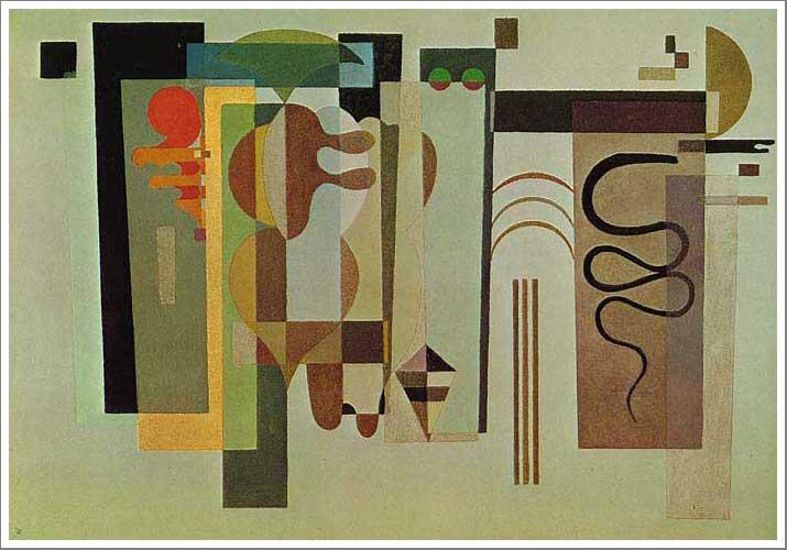 絵画(油絵複製画)制作 ワシリー・カンディンスキー「二つの緑の点」