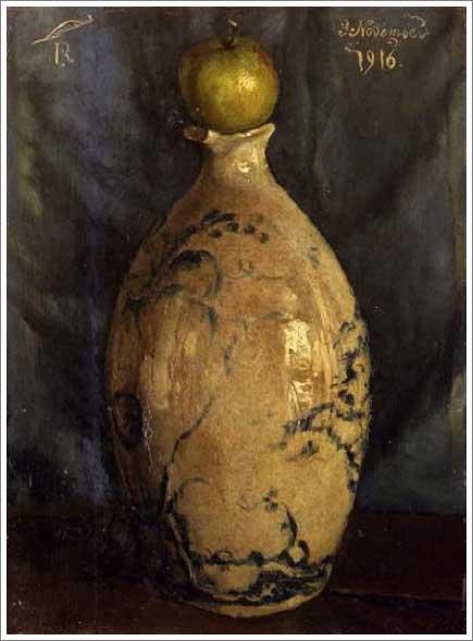 絵画(油絵複製画)制作 岸田劉生「壺の上に林檎が載って在る」