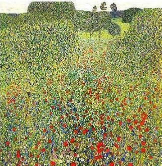 絵画(油絵複製画)制作 グスタフ・クリムト「けしの野」