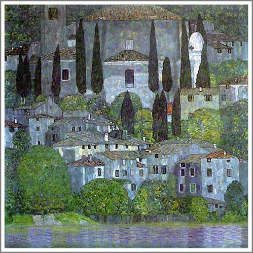 絵画(油絵複製画)制作 グスタフ・クリムト「アッター湖畔のカンマー城 I(水城)」