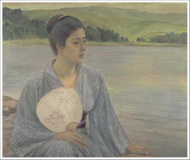 絵画(油絵複製画)制作 黒田清輝「湖畔」