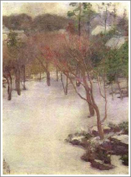 絵画(油絵複製画)制作 黒田清輝「庭の雪」