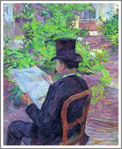 絵画(油絵複製画)制作 ロートレック「新聞を読むデジレ・ディオー」