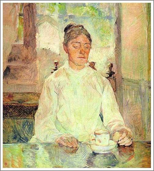 絵画(油絵複製画)制作 ロートレック「朝食をとるロートレックの母」