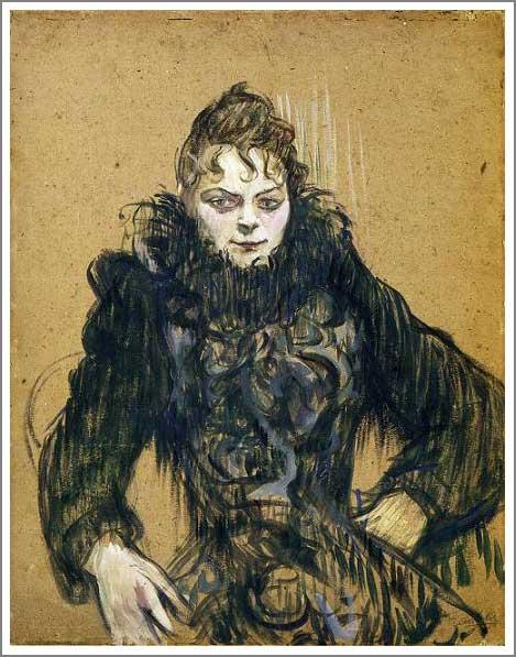 絵画(油絵複製画)制作 ロートレック「黒いボアの女」