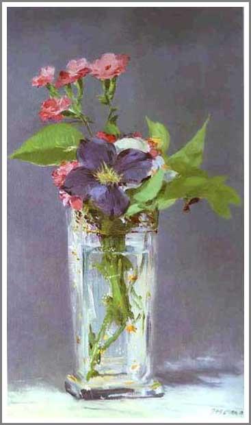 絵画(油絵複製画)制作 エドゥアール・マネ「水晶の花瓶に活けたクレマチス」