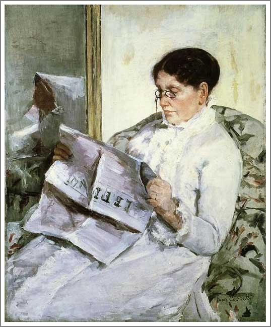 絵画(油絵複製画)制作 メアリー・カサット「ル・フィガロを読む」