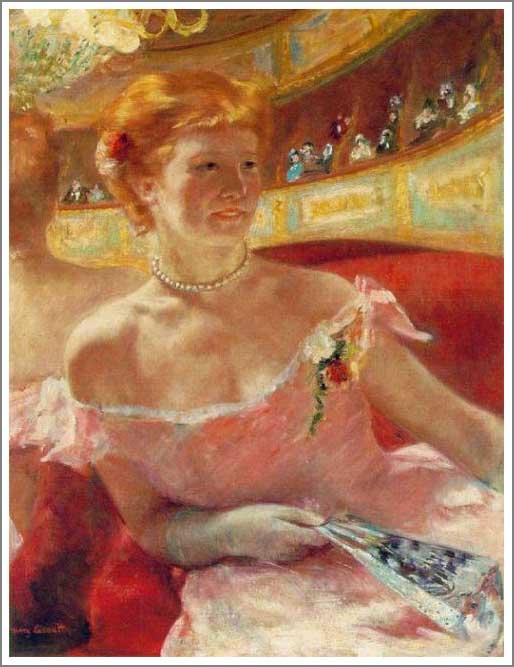 絵画(油絵複製画)制作 メアリー・カサット「真珠の首飾りをつけた桟敷席のリディア」