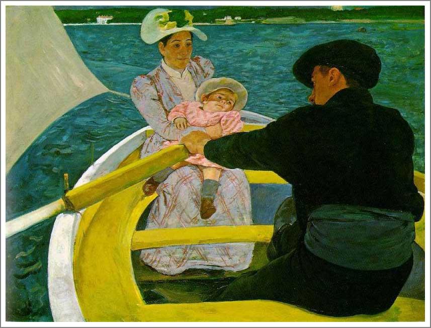 絵画(油絵複製画)制作 メアリー・カサット「舟遊び」