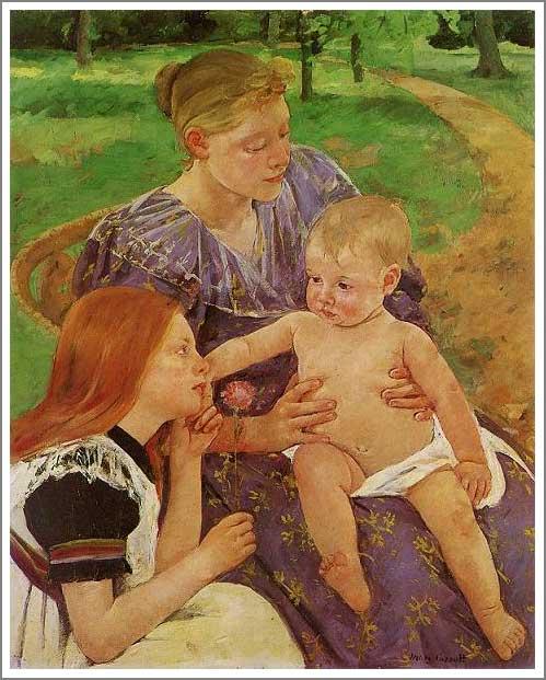 絵画(油絵複製画)制作 メアリー・カサット「家族」