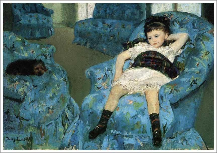 絵画(油絵複製画)制作 メアリー・カサット「青い肘掛け椅子の上の少女」
