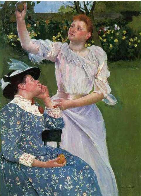 絵画(油絵複製画)制作 メアリー・カサット「果実を摘む若い女性」