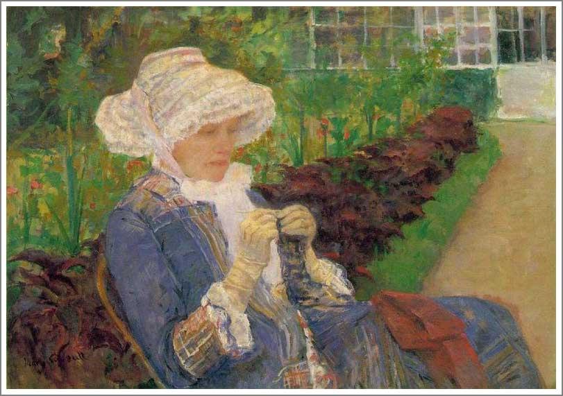 絵画(油絵複製画)制作 メアリー・カサット「マルリーの庭で編物をするリディア」