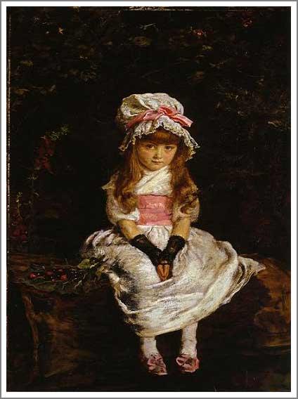絵画(油絵複製画)制作 エヴァレット・ミレイ「熟したさくらんぼ」