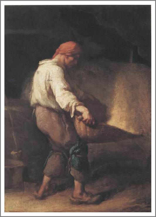 絵画(油絵複製画)制作 フランソワ・ミレー「箕をふるう人」