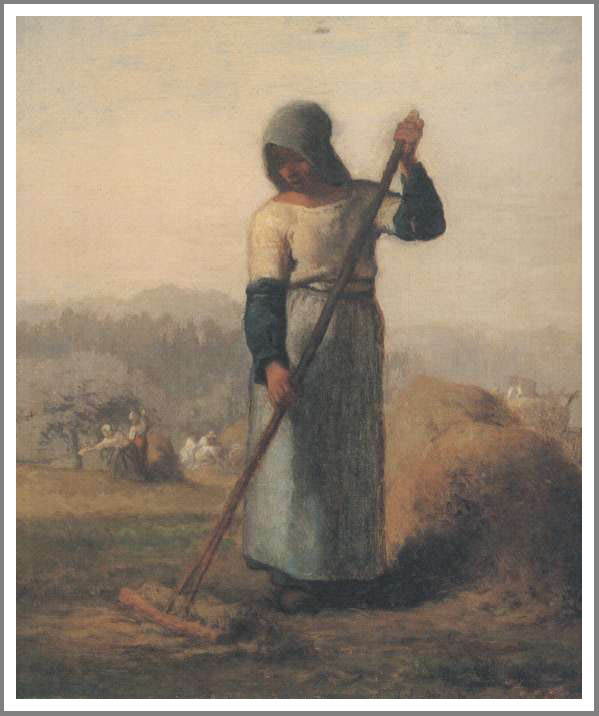 絵画(油絵複製画)制作 フランソワ・ミレー「くまでを持つ女」