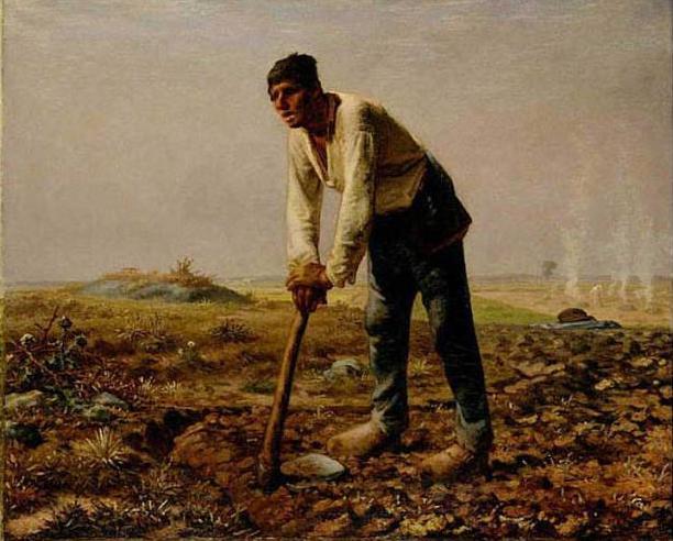 絵画(油絵複製画)制作 フランソワ・ミレー「鍬を持つ男」