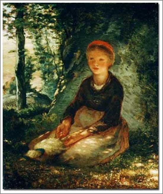絵画(油絵複製画)制作 フランソワ・ミレー「木陰に座る羊飼いの娘」