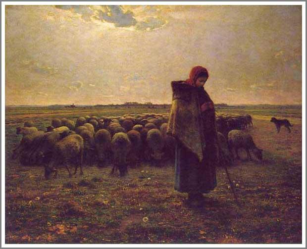 絵画(油絵複製画)制作 フランソワ・ミレー「羊飼いの少女」