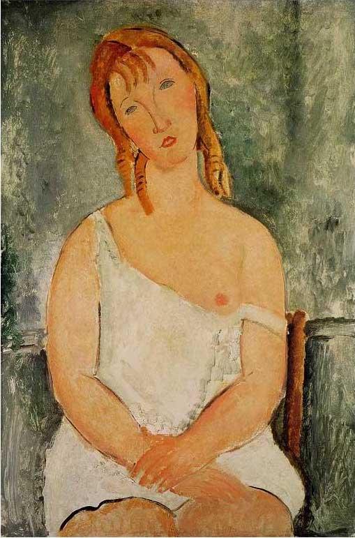 絵画(油絵複製画)制作 アメデオ・モディリアーニ「シュミーズを着た赤い髪の若い女」