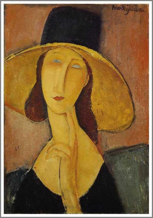絵画(油絵複製画)制作 アメデオ・モディリアーニ「大きな帽子のジャンヌ・エビュテルヌ」
