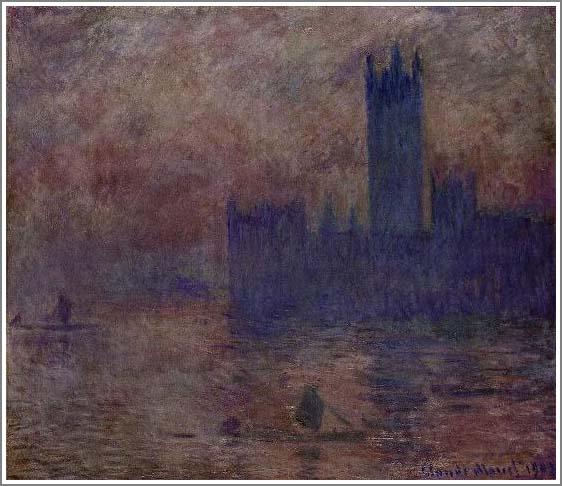絵画(油絵複製画)制作 クロード・モネ「ロンドン国会議事堂」