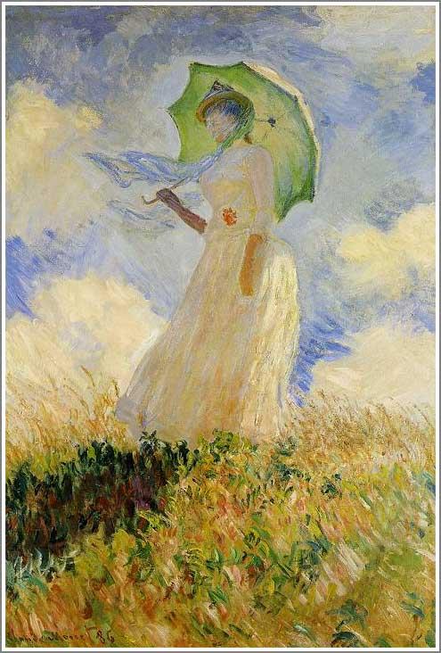 絵画(油絵複製画)制作 クロード・モネ「日傘を差す女(左向き)」