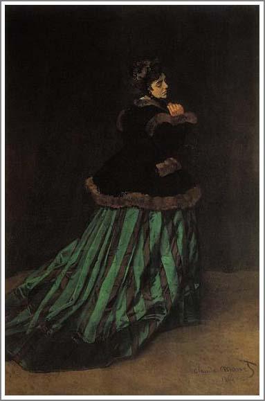 絵画(油絵複製画)制作 クロード・モネ「緑色のドレスを着た女性」