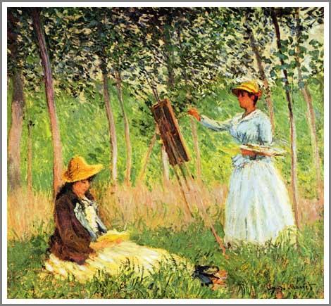 絵画(油絵複製画)制作 クロード・モネ「読書するシュザンヌと絵を描くブランシュ」