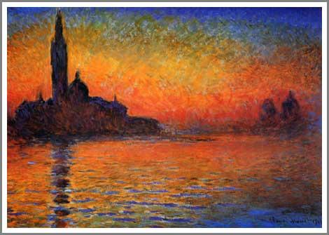 絵画(油絵複製画)制作 クロード・モネ「黄昏、ヴェネツィア」