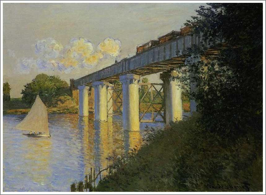 絵画(油絵複製画)制作 クロード・モネ「アルジャントゥイユの鉄道橋(鉄橋)」