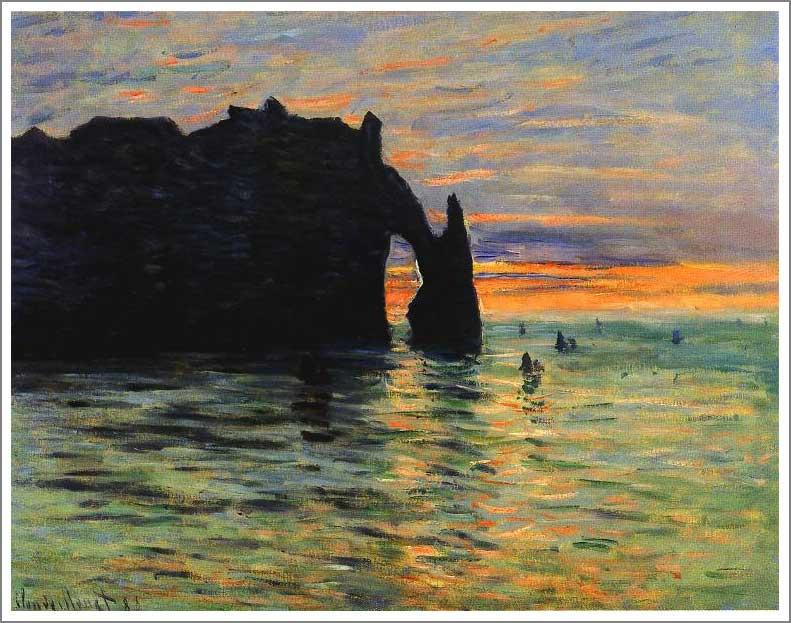 絵画(油絵複製画)制作 クロード・モネ「エトルタの日没」
