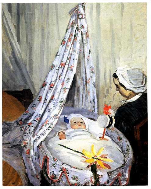 絵画(油絵複製画)制作 クロード・モネ「揺りかごの中のジャン・モネ」