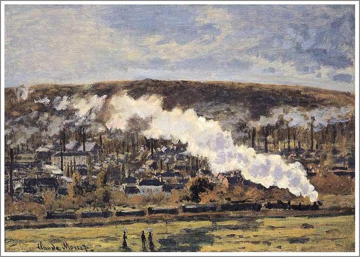 絵画(油絵複製画)制作 クロード・モネ「貨物列車」