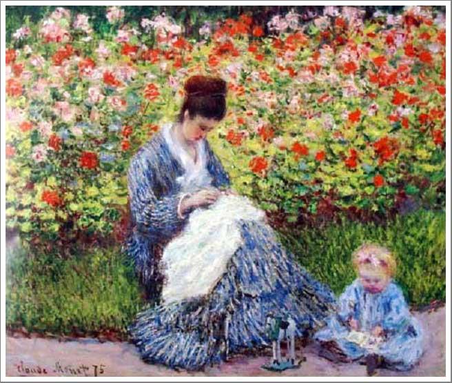絵画(油絵複製画)制作 クロード・モネ「庭のカミーユ・モネと子供」
