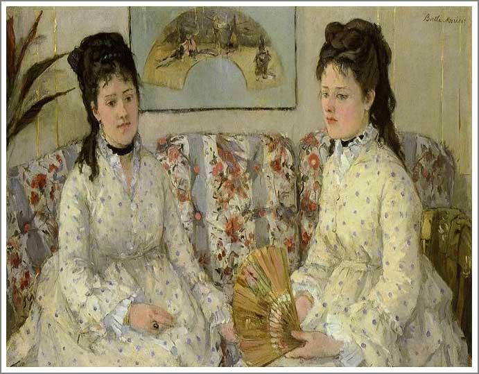 絵画(油絵複製画)制作 ベルト・モリゾ「ソファーに座る2人の娘」