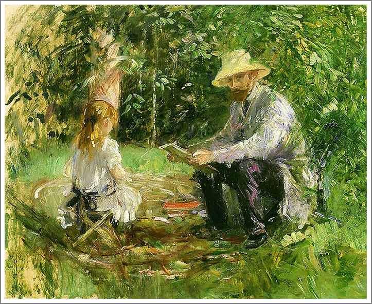 絵画(油絵複製画)制作 ベルト・モリゾ「庭のウジェーヌ・マネと娘」