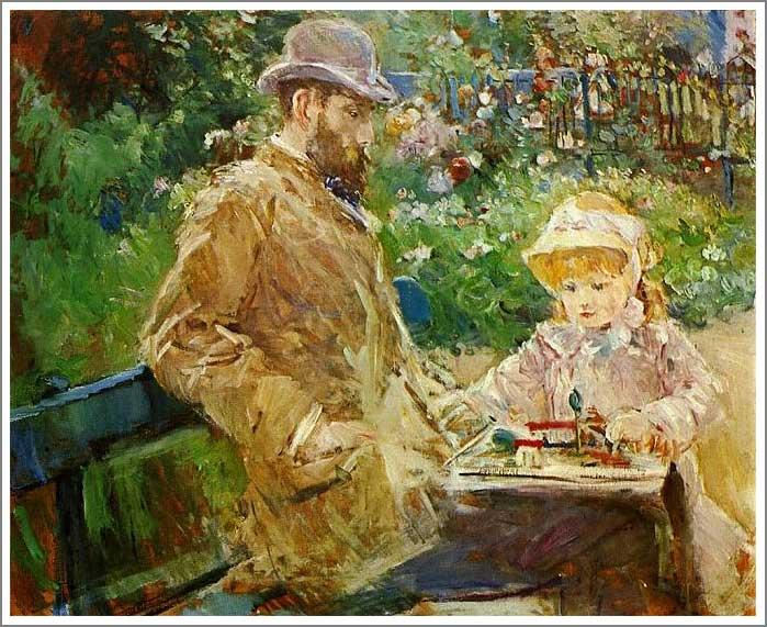 絵画(油絵複製画)制作 ベルト・モリゾ「ブージヴァルの庭のウジェーヌ・マネと娘」