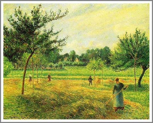 絵画(油絵複製画)制作 カミーユ・ピサロ「干し草の刈り入れ~エラニーにて~」