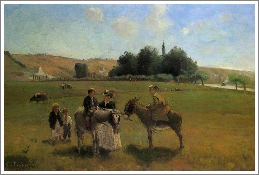 絵画(油絵複製画)制作 カミーユ・ピサロ「ラ・ロシュ・ギュイヨンのロバに乗った散歩」